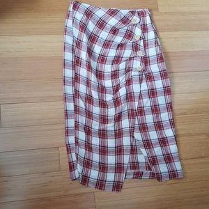 NWOT Plaid Zara Midi with button Skirt sz S